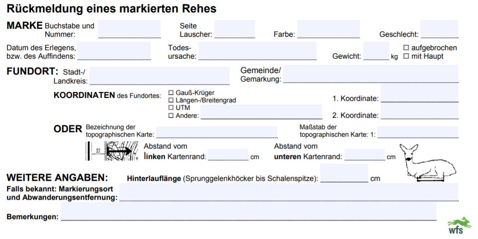 Rehwildmarkierung,Wildforschungsstelle,Andreas Elliger